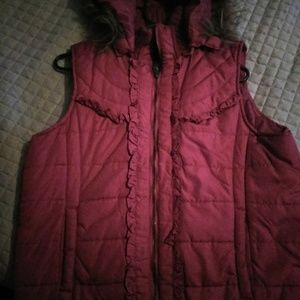 Jackets & Blazers - Red hooded vest